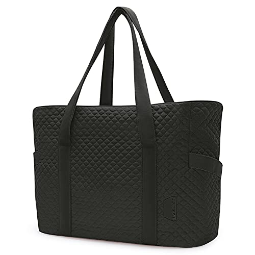 Tote Bag BAGSMART Handbags Large Shoulder Bags for Women with Yoga Mat Buckle, 15.6 inches Laptop Bag for Work School Travel Gym Gift for Family Black