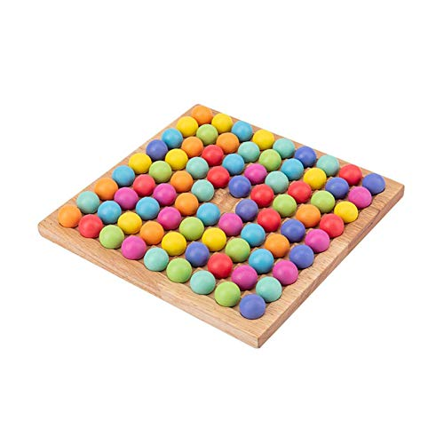 MMUK Holz Brettspiel Spiel Spielzeug, Holz Spielbrett mit 80 bunten Perlen und 8 Aufbewahrungsschalen Regenbogen Clip Perlen Puzzle Kinder Gehirn Training Brettspiel