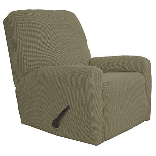 Easy-Going Funda elástica para sofá reclinable de 4 piezas, protector de muebles, suave con parte inferior elástica, tela jacquard de licra a cuadros pequeños (reclinable, caqui)