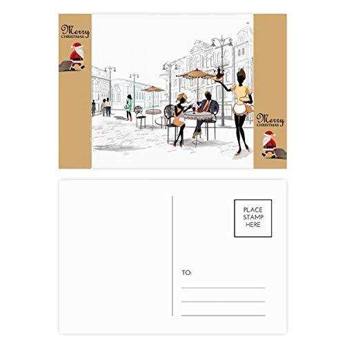 Vacation Street Frankrijk Landmark Kerstman Gift Ansichtkaart Thanks Card Mailing 20 stks