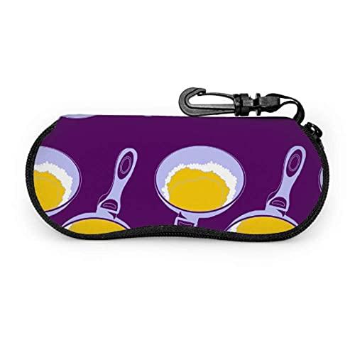 Tcerlcir Estuche para gafas Dibujos animados Comida deliciosa Huevo escalfado Deportes Mujer Estuche para anteojos Estuche ligero portátil Estuche para gafas de sol para niños pequeños, 17x8cm