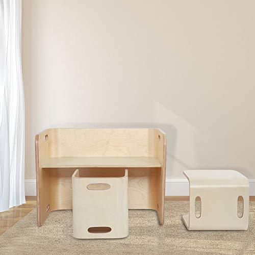Ejoyous Mesa para niños de 3 Piezas, Mesa de Escritorio de Madera Curvada Natural para niños con 2 sillas, Juego de Mesa y Silla de Madera Multiusos para niños