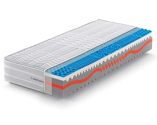 Marcapiuma Einzelmatratze Memory 90 x 200 cm, Höhe 25 cm, Sunshine - Härtegrad H2 Medio 9 Zonen - Medizinprodukt - Bezug abnehmbar Silver milbendicht 100% Made in Italy