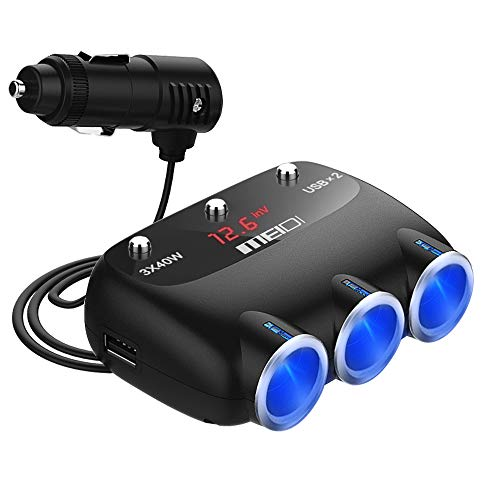 Cargador de Coche Dual USB con 120W 3 Puertos Adaptador,Encendedor Mechero de Coche DC enchufe del coche Splitter para Télefono Móvil, Tablets, GPS, MP3 etc