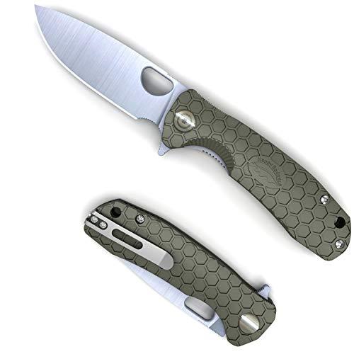 Western Active HB1013 Honey Badger Pocket Knife Folding Flipper EDC Deep Pocket Carry for Outdoor Tactical Survival Camping Medium Green Drop Point 8Cr13Mov