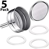 5 packs 6-cup moka coffee machine replacement funnel kits compatible with Moka Express, 3 packs replacement gasket seals, 1 stainless steel replacement funnel with 1 pack Stainless filter replacement
