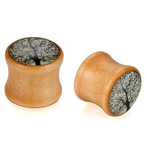 JewelryWe Schmuck 14mm Holz Double Flared Flesh Plug Sattel Tunnel Plugs Ohrstecker Ohrpiercing Braun schwarz weiß Baum des Lebens Vintage