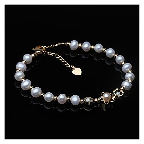 aolongwl Pulsera Mujer Boda Fine Charm Pearl Jewelry Natural White Freshwater Pearl Aniversario Regalo