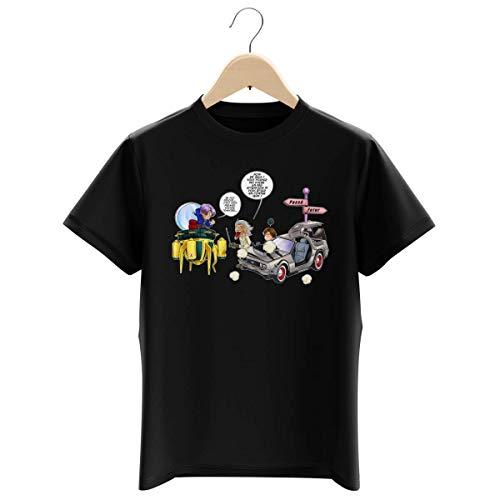 T-shirt Enfant Garçon Noir parodie Dragon Ball Z - Retour vers le Futur - Trunks Vs Doc et Marty Macfly - Collision dans les Couloirs du Temps ! (T-shirt enfant de qualité premium de taille 13-14 ans