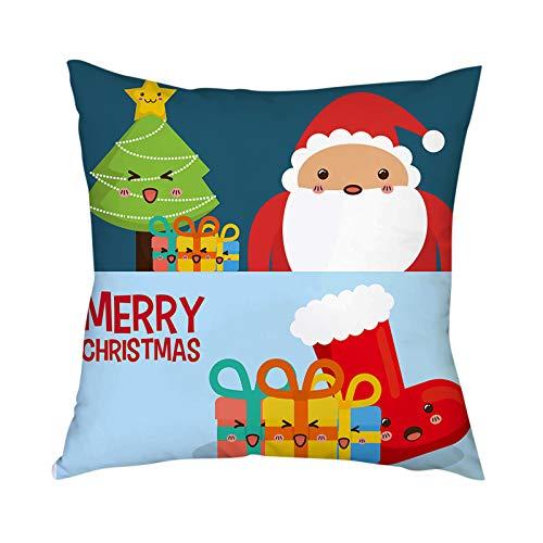 HINK Decoración del hogar Funda de cojín Funda de Almohada con Estampado navideño Fundas de Almohada Funda...