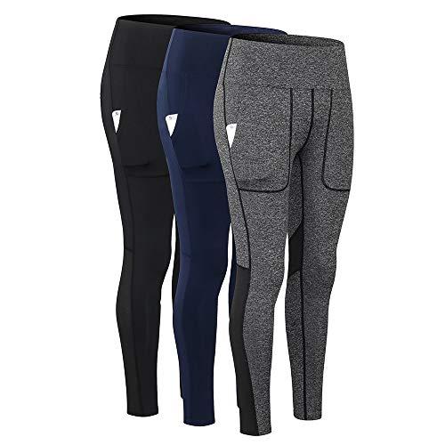 Pantalones de Yoga para Mujer con Bolsillos Leggings Deportivos de Cintura Alta Medias Stretch Fitness Workout Running Skinny Bodycon Pantalones Gym Home Ropa Deportiva