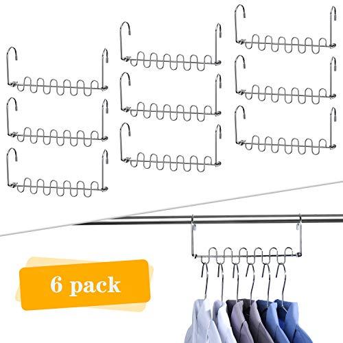 HOUSE DAY Perchas de metal mágico Ahorro de espacio Organizador de perchas de ropa Smart Closet Space Saver Paquete de 6