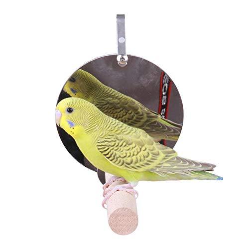 Bouncevi Haustier Vogel Spiegel Holz Schaukel Spiel Spielzeug Spiegel Hängen Am Käfig Für Papagei Wellensittiche Sittich Nymphensittich Lovebird
