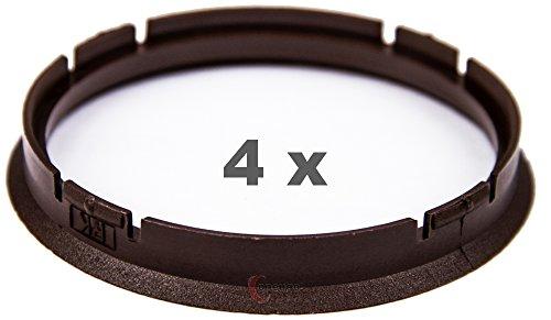4 x anelli di centraggio da 73 mm a 66,6 mm, marrone