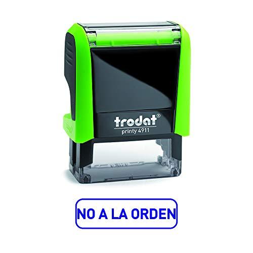 Trodat 4911 Printy Sello Fórmula Comercial con Texto NO a la ORDEN, entintaje automático, Tamaño de la Placa de Texto 37 x 14 mm, Azul, 8428447824003