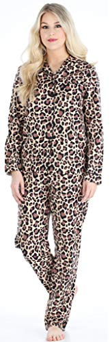 PajamaMania Flanell Pyjama für Damen, Schlafanzug, Braun Leo (PMF1002-2072-EU-LRG)
