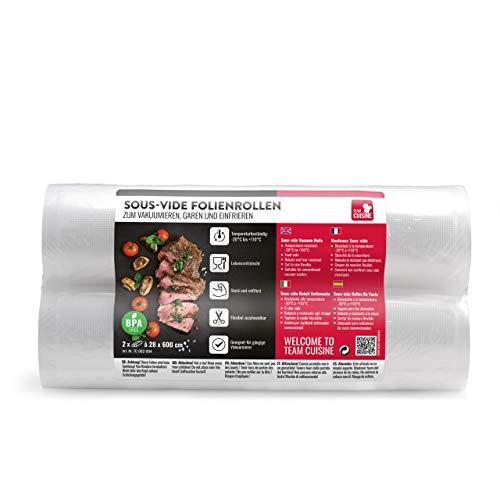 TEAM CUISINE Sous-vide Folienrollen Vakuumbeutel | 2 Rollen Vakuumier-Folie je 28 x 600 cm | reißfeste flexibel zuschneidbar | lebensmittelecht | geeignet zum Garen und Gefrieren für Vakuumiergeräte
