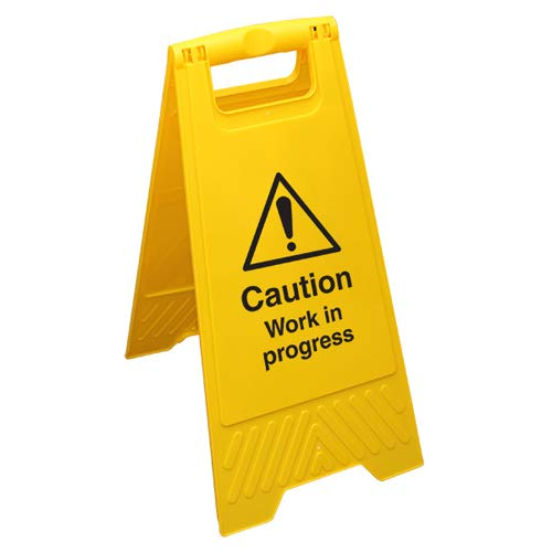 Vsafety - Cartello da pavimento giallo con scritta