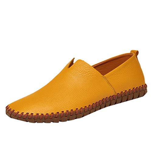 Herren Loafers Große Größen Halbschuhe Slip On Moccasins Business Lederschuhe rutschfeste Bequeme Fahren Freizeitschuhe, Gelb, 47 EU