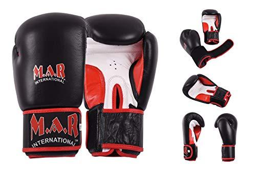 M.A.R International Ltd. Boxhandschuhe / Kickboxen / Thaiboxhandschuhe - echtes Leder mit Schaumstoffpolsterung - Daumenlock-Design (NCAT-105) schwarz 10 oz