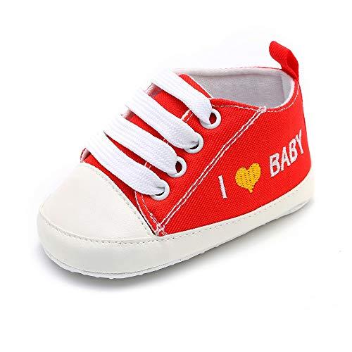 Allence Niedlich Kind Baby Säugling Junge Mädchen weiche Sohle Kleinkind Schuhe Leinwand Sneak I Love Baby(0-6 Monat, Blau)