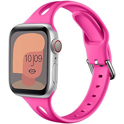 youmaofa Compatible con Apple Watch Correa 38mm 40mm 42mm 44mm, Suave Silicona Delgado Deporte Repuesto Correa por Apple Watch SE, Series 6, Series 5, Series 4 3 2 1, 38mm 40mm-Rosepink