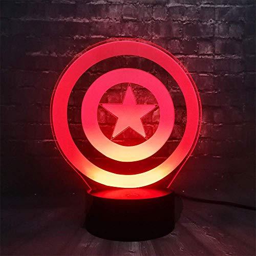 Anime Hero Shield Luz de noche 3D para niños, niñas, regalo, lámpara de ilusión 3D para dormitorio al lado de la mesa, lámpara de mesa de escritorio con 16 colores cambiantes, regalo para niños