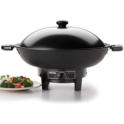 Aroma Housewares AEW-305 Electric Wok Easy Clean Nonstick, Dishwasher Safe, 7Qt, Black