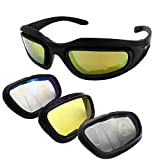 KAKIZAKI バイク用 サングラス ゴーグル 自転車 スポーツ 防風 紫外線カット (本体フレーム レンズ4種 メガネ拭き 収納ケース)