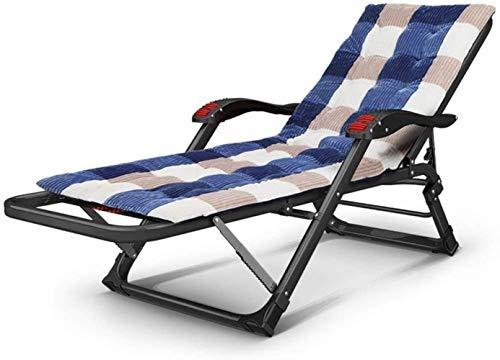 Tumbona de jardín con almohadas, reclinable, plegable, con almohadilla de algodón, reclinable, para playa, patio, jardín, camping, al aire libre, portátil para el hogar (Color B), A