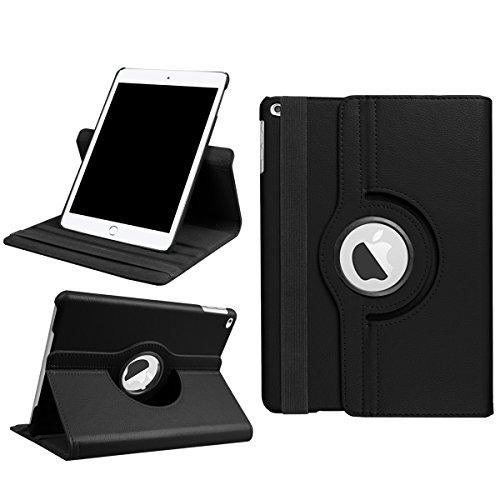 Smart Cover New iPad 9.7 Inch Custodia, Smart Cover in PU Pelle Protettiva Custodie Leggero Tablet Cover Custodia con 360 Degree Rotante Supporto per New iPad 9.7 Inch 2017 Nero
