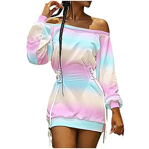 Wave166 Vestido de mujer sexy sin hombros descubiertos, corte ajustado, vestido de cóctel, vestido de noche, vestido de moda de estilo urbano, Rosa., XL