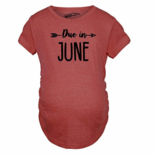 Crazy Dog Tshirts - Maternity Due in June T Shirt Baby Shower Announcement Pregnancy Reveal Tee (Red) - 3XL - Femme