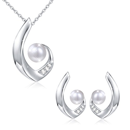 S925 Sterling Silver Prom Pearl Jewelry Sets Necklace Earrings Set for Women Bride