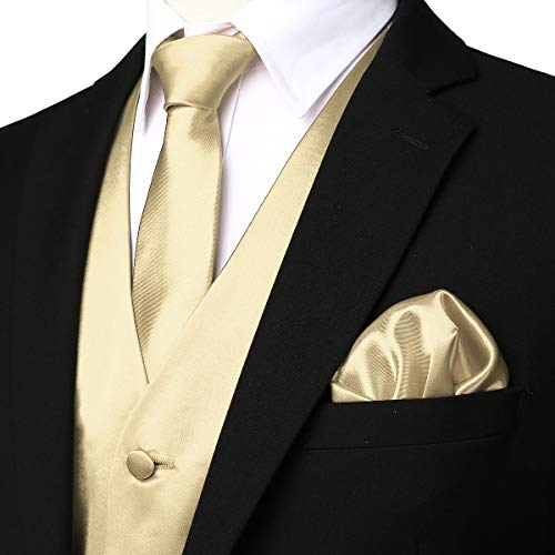 ZEROYAA Men's Solid 4pc Shiny Satin Vest Necktie Bowtie Pocket Square Set for Suit or Tuxedo ZLSV12 Champagne Large