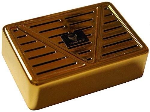 GERMANUS, ottimo umidificatore da tabacco, a forma di parallelepipedo, colore: oro, inclusi supporto e istruzioni (lingua italiana non garantita)
