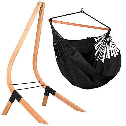 LA SIESTA Habana Onyx - Kingsize hangstoel organisch katoen + Vela Caramel - Standaard voor hangstoelen