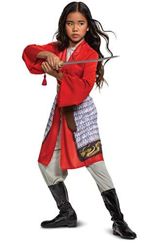 Disfraz Mulan para niñas, disfraz de héroe de película de acción en vivo de Disney, talla extra pequeña (3T-4T) rojo