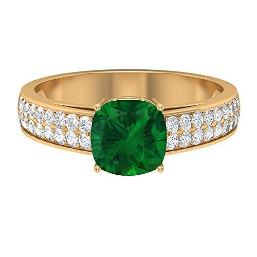 Anillo de compromiso con diseño de esmeralda, 7 mm, diseño de esmeralda, diseño de moissanita (calidad AAAA), 14K Oro amarillo, Size:EU 61