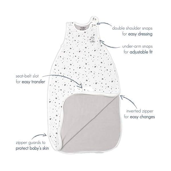 Woolino Toddler Sleeping Bag - 4 Season Merino Wool Baby Sleeping Bag 2-4 Yrs Dream (Lilac Gray)