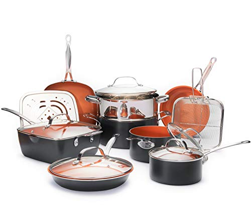 Gotham Steel Ultimate 15 Piece All in One Chef's Kitchen Set Copper Coating – Includes Skillets, Stock Pots, Deep Square Pan with Fry Basket