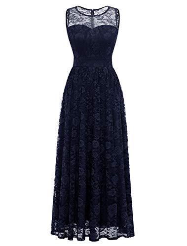 WedTrend Damen Spitzen Lange Brautjungfer Kleid Abendkleid Party Ärmellos Cocktailkleid WTL10007 A-Navy S