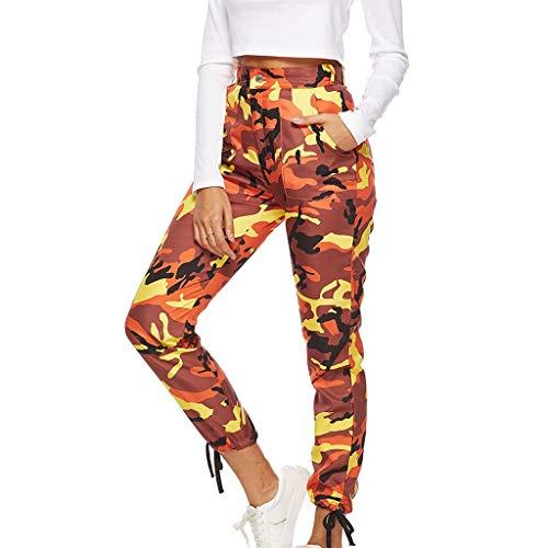 Auiyut Damen Hosen Camouflage High Waist Sport Hosen Jeans Cargo Hosen Freizeithosen Military Combat Pants Fit Multi Taschen Freizeithose Military Sicherheitshose mit Gürtel