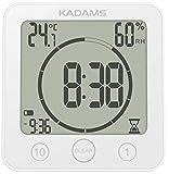 KADAMS Digital Clock Timer with Alarm, Waterproof for Water Spray for Bathroom Shower