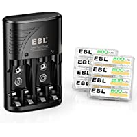 8-Pack EBL 800mAh Rechargeable AAA Batteries with Smart Rapid Battery Charger