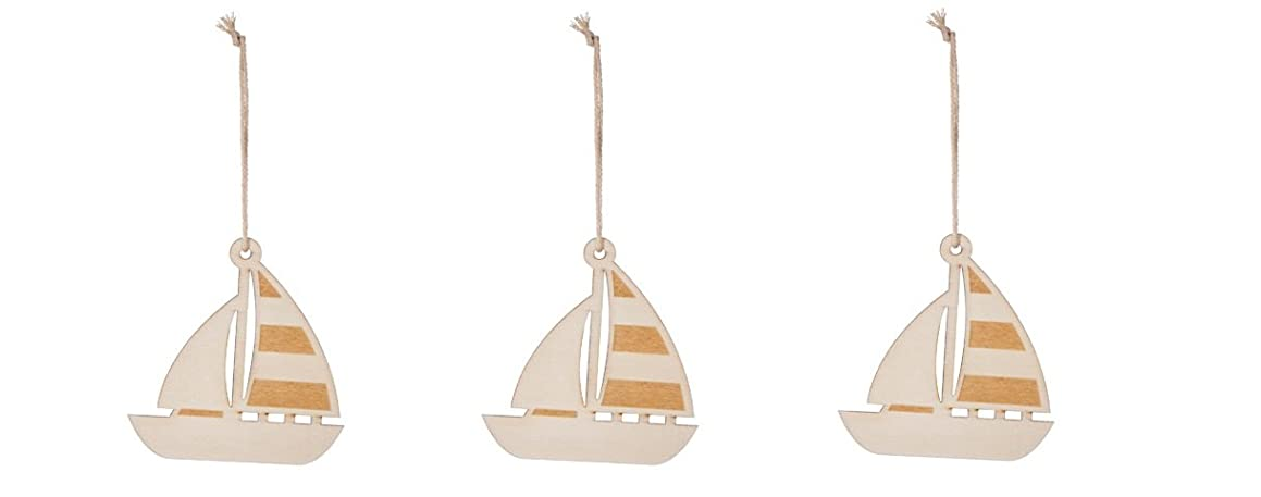Darice Natural Unfinished Wood Ornament - Sailboat - 3 Piece