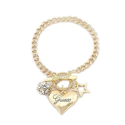 KGMIXL Hermosamente Pulsera de Cadena Amor LANQUE DE AÑOS Pulsera Pulsera Crystal Bracelets Bangles Día de San Valentín Regalo para su Esposa, señoras, mamá (Metal Color : 1pcs Gold)