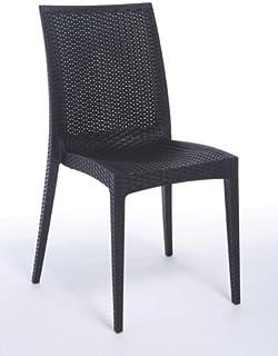 Verone Mobili Lote de 2 Sillas Mod.Sandy - Color Antracita Silla realizada en tecnopolímero reciclable con Textura Mimbre.