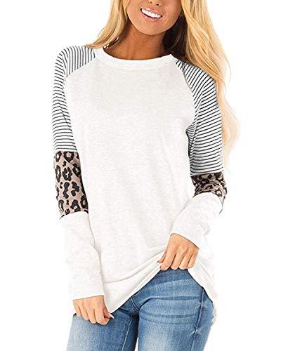 CNFIO koszulka dla kobiet panterka raglanowe bluzki z długim rękawem luźna bluzka koszule basic Tee