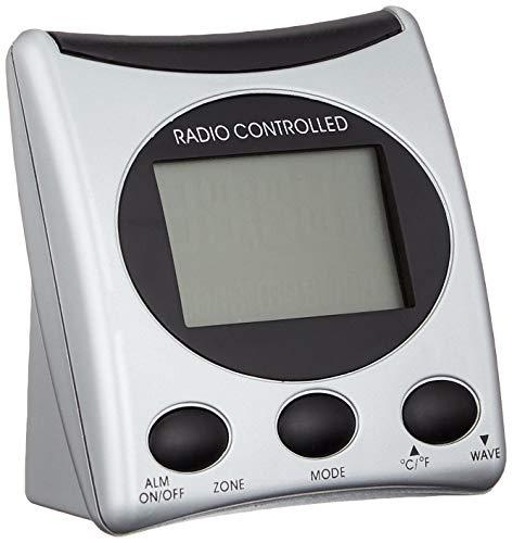 Der WT 221 ist ein klassischer Funkwecker mit Temperaturanzeige und digitaler Uhrzeitanzeige, silber - schwarz